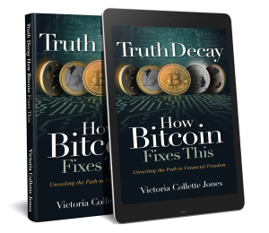 "Images of the Book, Hardback and Kindle, ""Truth Decay - How Bitcoin Fixes This"""